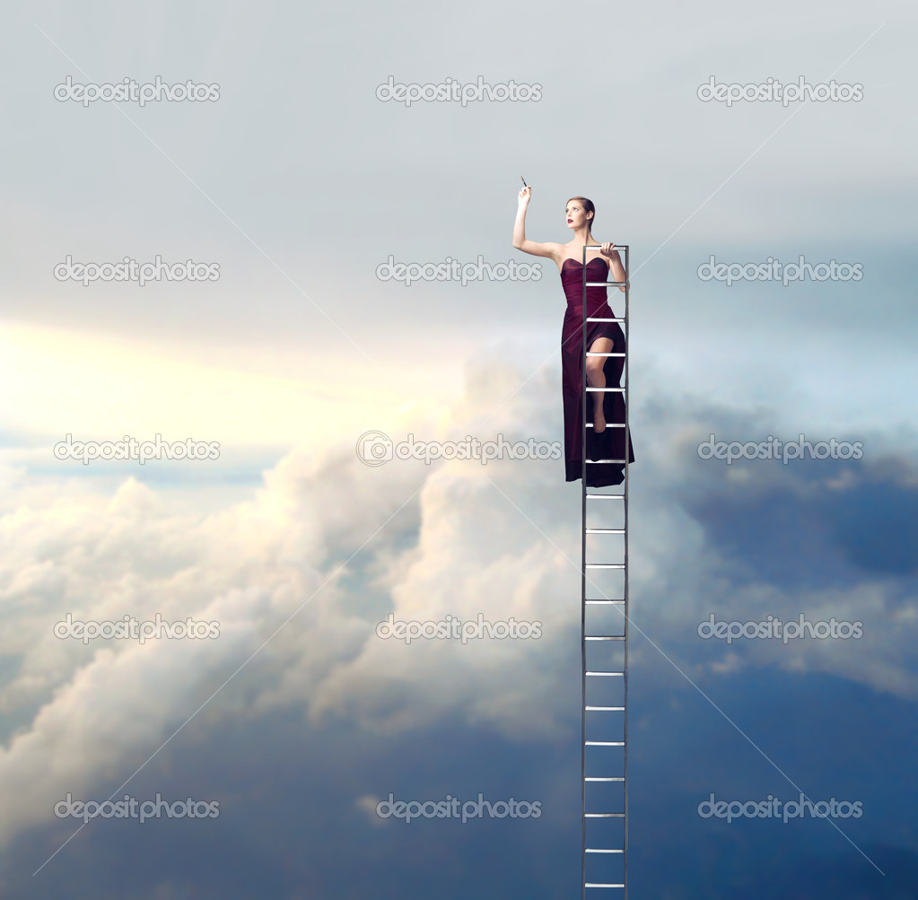 Beautiful elegant woman on a ladder in the sky drawing — Stock Photo #9623662