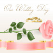 Pink rose and wedding rings — Stock Vector