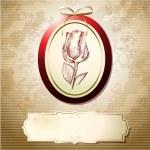 cartolina di San Valentino con rosa — Vettoriale Stock