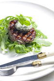 Grilled beefsteak with herbal butter — Stock Photo