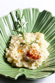 Grilled Saint Jacques mollusc on rosemary needle with risotto — Stock Photo