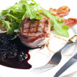 Stock Photo: Beefsteak grilled in bacon with sauce of juniper and red wine
