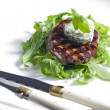 Grilled beefsteak with herbal butter — Stock fotografie #10480532