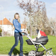 Woman with a pram on spring walk — Stock Photo #10480769