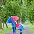 Mother and her daughter with umbrellas in spring alley — Stock Photo #9066272