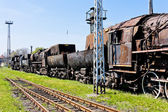 Steam locomotives in railway museum, Jaworzyna Slaska, Silesia, — Stock Photo