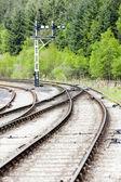 Tracks and mechanical marker, North Yorkshire Moors Railway (NYM — Stock Photo