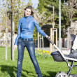 Woman with a pram on spring walk - Stock Photo