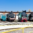 Steam locomotives in railway museum, Jaworzyna Slaska, Silesia, - Stock Photo