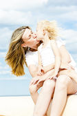 Summer portrait of mother with her daughter — Stock Photo