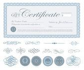 Mavi sertifika sınır ve süs vektör — Stok Vektör