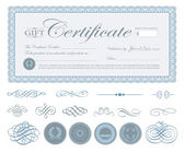 Vector Blue Certificate Border and Ornaments — Stock Vector