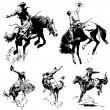 Vector Vintage Rodeo Graphics - Stock Vector
