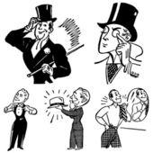 Vector Vintage Gentleman Graphics — Stock Vector