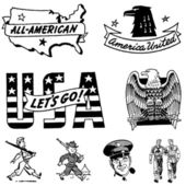 Vector Vintage USA Military Graphics — Stock Vector