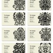 Stock Vector: Vector Ornate Business Card Set
