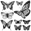 Vector Vintage Butterfly Set 2 — Stock Vector
