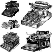 Vector Vintage Typewriters — Stock Vector