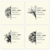 Vector Ornate Floral Half Frames Set — Vector de stock