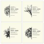 Vector conjunto recargado marcos medio floral — Vector de stock