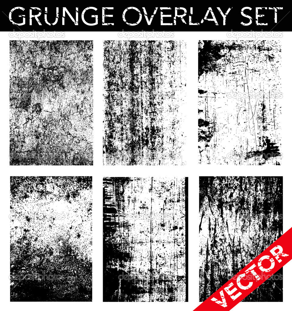 Vector Grunge Overlay Set. Simply place texture over any object to create a distressed effect. — Stock Vector #8185276