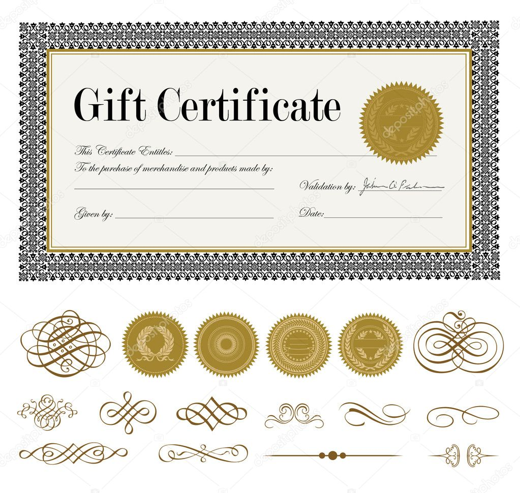Vector Ornate Gift Certificate And Ornaments