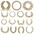 Vector Bronze Wreath and Laurel Set - Stock Vector