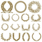 Vector Bronze Wreath and Laurel Set — Vecteur