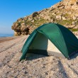 Tourist tent on sea beach — Stock Photo