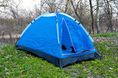 Blue tent in forest — Stock Photo