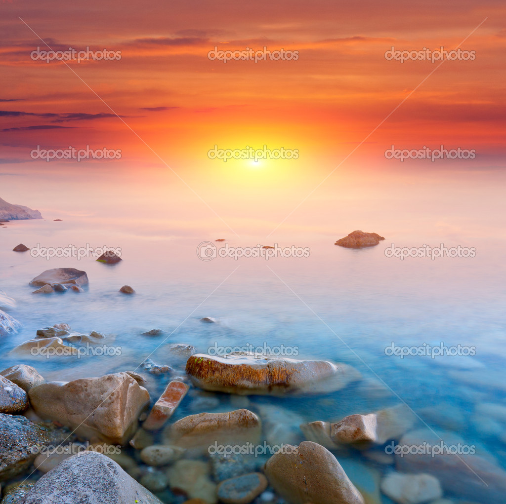 Nice scene with sunset over sea — Stock Photo #10710148