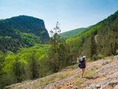 Hiker girl trekking — Stock Photo