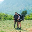 Couple of young hikers — Stock Photo