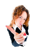 Business woman wag his finger — Stock Photo