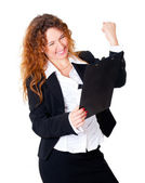 Excited business woman enjoys — Stock Photo