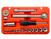 Kit di strumenti di vari strumenti di metallo nel riquadro rosso — Foto Stock