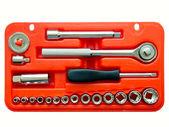 Zestaw narzędzi o różnych narzędzi metalowych w czerwonym polu — Zdjęcie stockowe