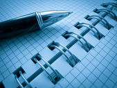 Abra o caderno com caneta — Foto Stock
