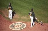 Oakland A's Coliseum Baseball Players — Stock fotografie