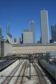 Chicago Trains and Skyscrapers — Stock Photo