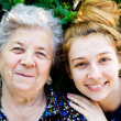 Grandmother with her grand daughter — Stock Photo