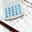 Economic financial research with calculator — Stock Photo