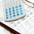 Stock Photo: Economic financial research with calculator