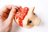 Saving money concept - coin inserted in piggy bank — Stock Photo