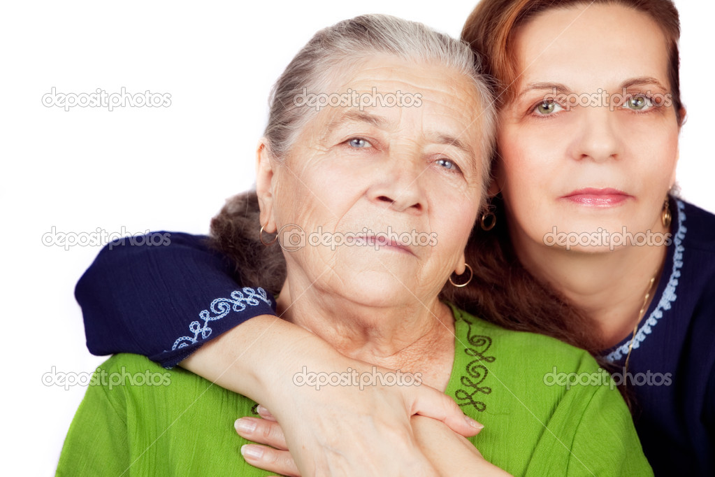 Family portrait - happy daughter and her old mother — Stock Photo #9663747