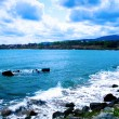Stock Photo: Landscape - Sea waves and cloudy blue sky