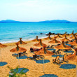Stock Photo: Straw umbrellas on peaceful beach in Bulgaria