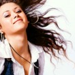 Active woman with moving hair — Stock Photo