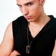 Masculine sexy man looking cool and tough — Stock Photo