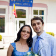 Just married - happy young couple outdoor — Stok fotoğraf